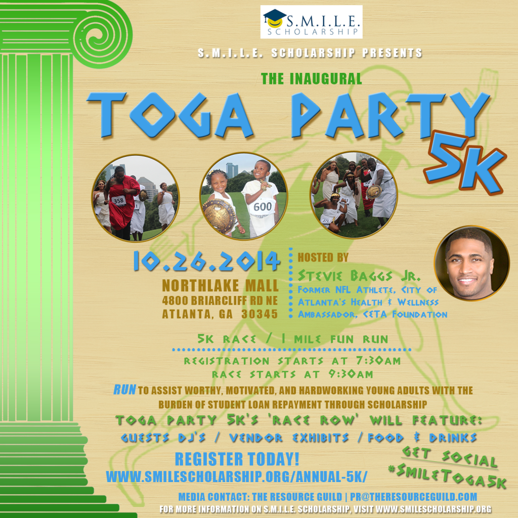 SMILE Inc.'s Inaugural Toga Party 5k to Raise Funds to Assist Young Adults with Student Loans